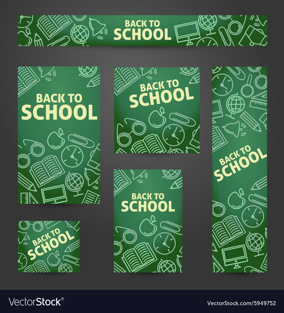 Set web of banners back to school vector