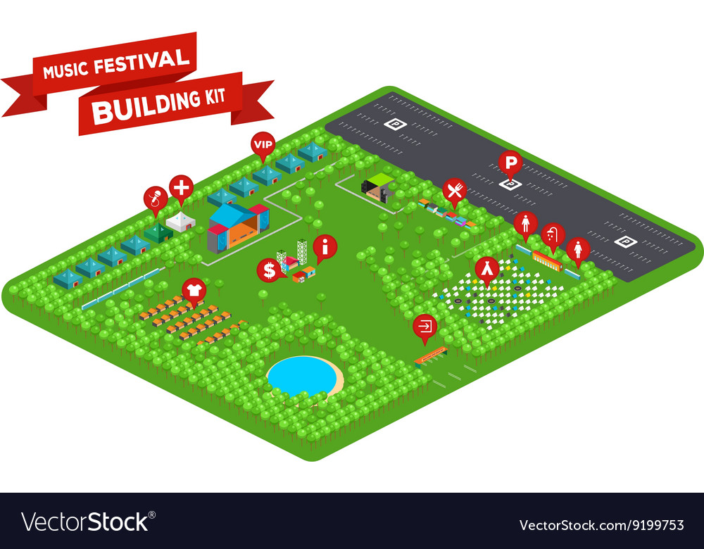 Music festival building kit 2 vector