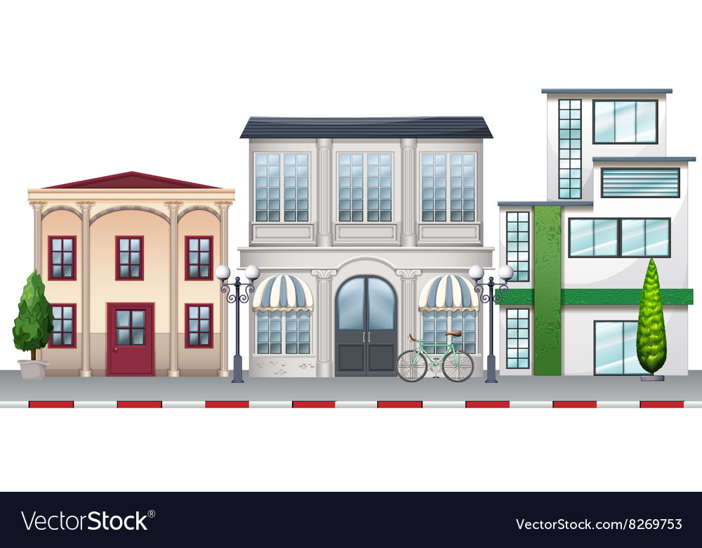 Shops and buildings along the road vector