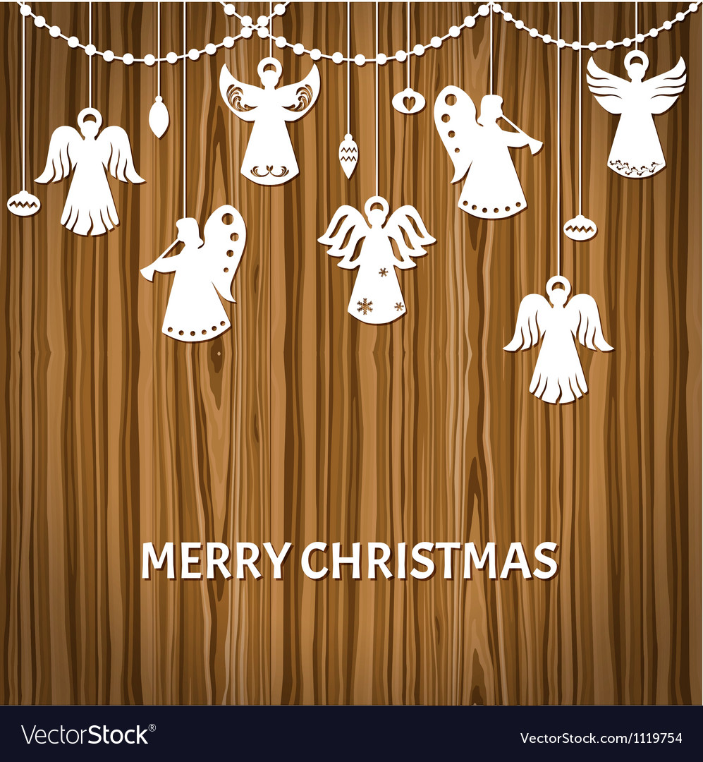 Merry christmas greeting card  angels vector