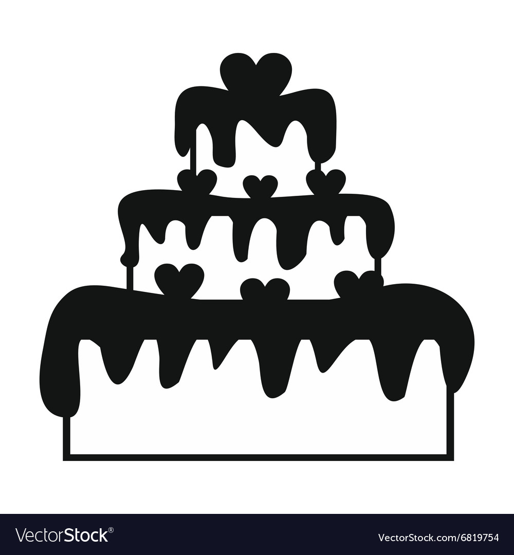 Valentine day cake simple icon vector