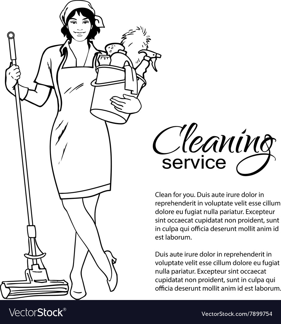 Woman in uniform cleaning services vector