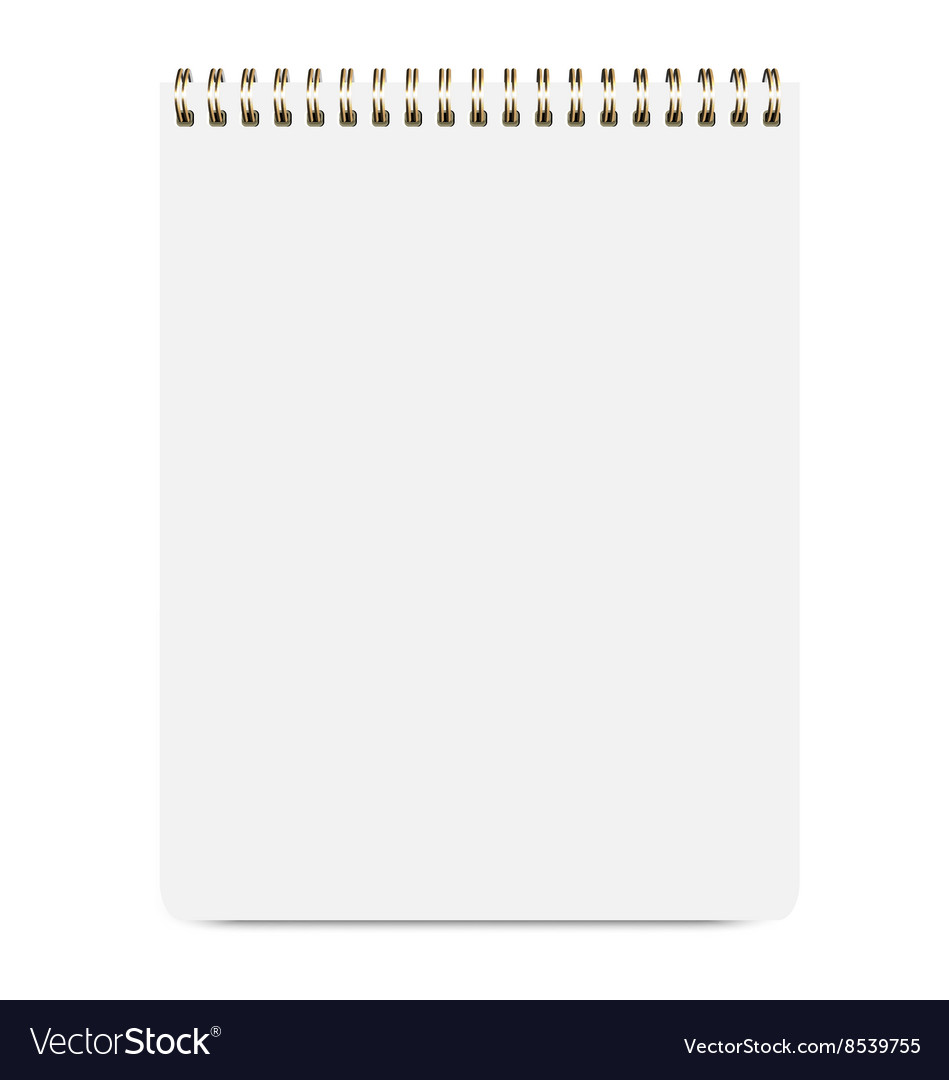 Blank realistic notepad isolated on white vector