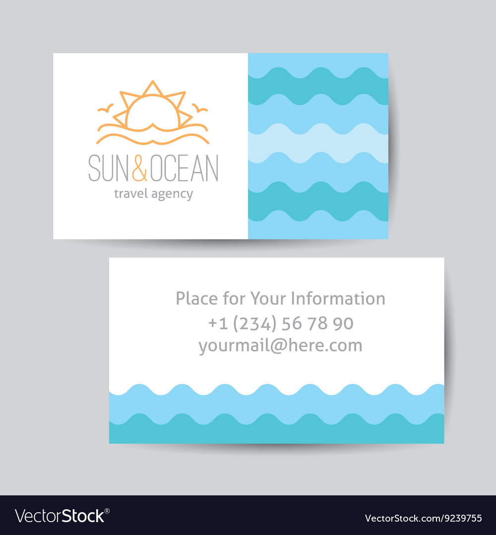 Business card with sun and waves logo vector