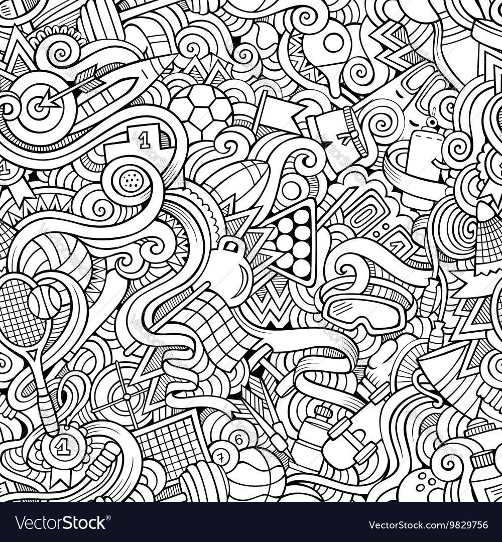 Cartoon handdrawn doodles sports seamless pattern vector