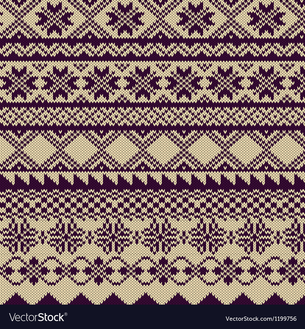 Knitted background with pattern in fair isle style vector