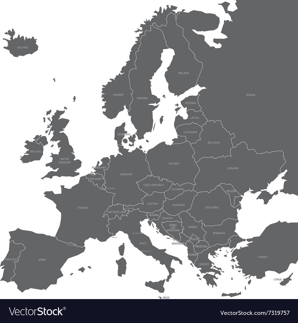 Europe map with names of sovereign countries vector