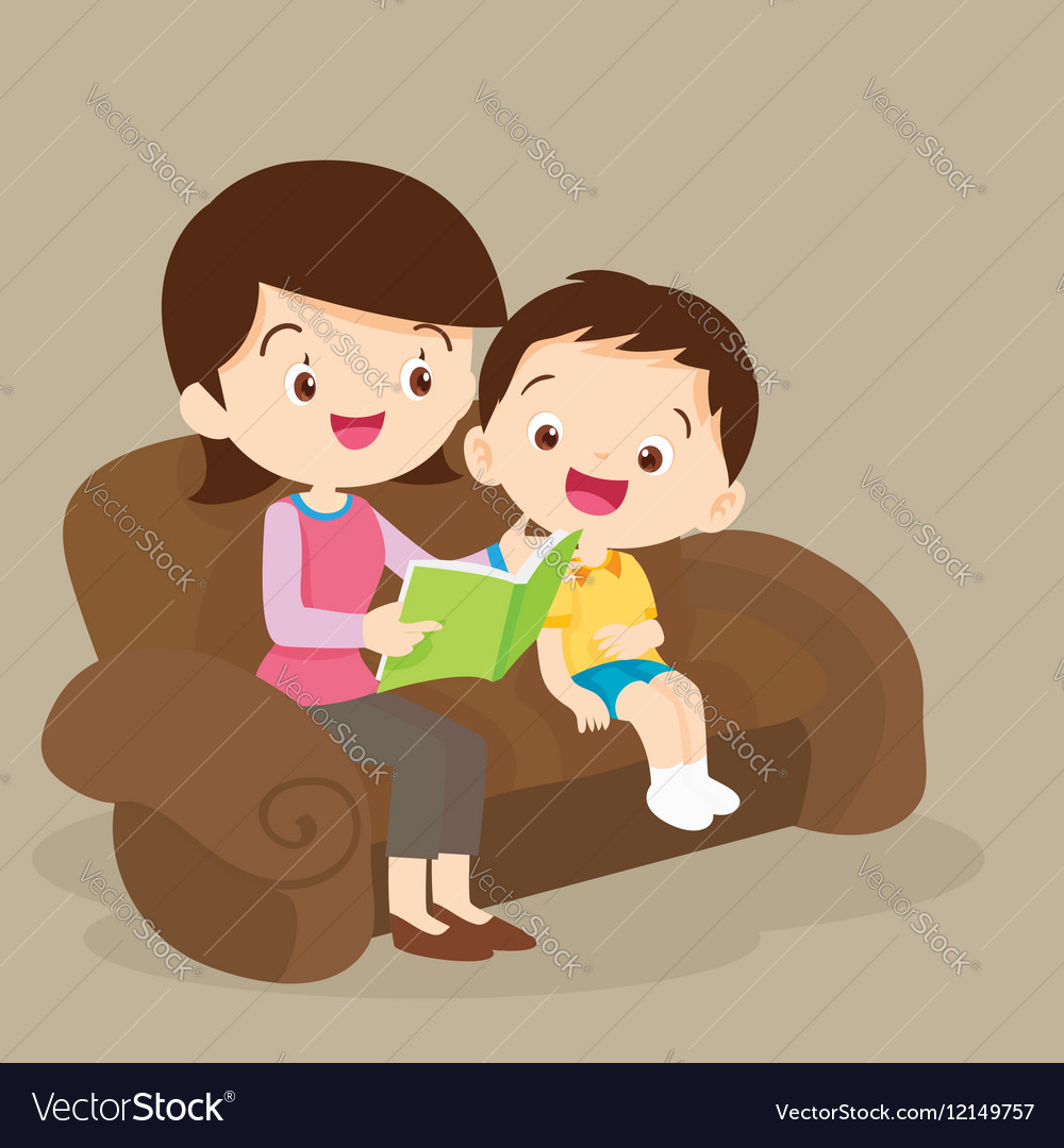 Mother and son reading together vector