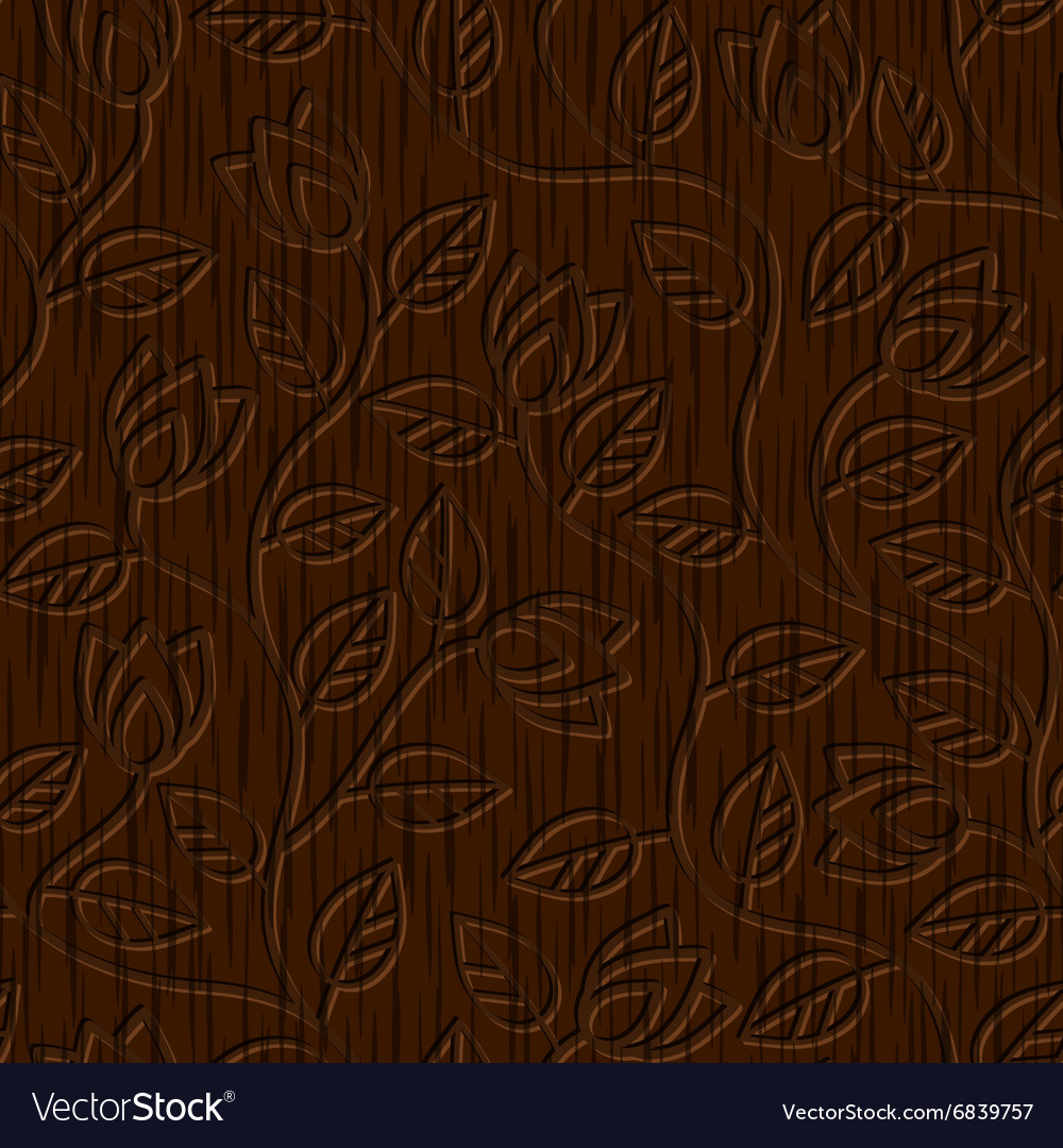 Seamless abstract wood carved floral ornament vector
