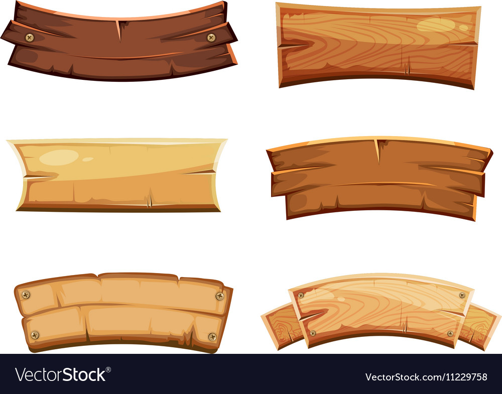 Cartoon wood blank banners and ribbons western vector