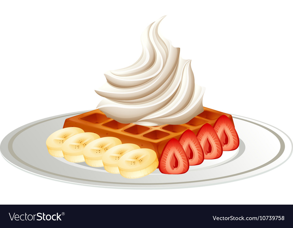 Waffle and fresh fruit on the plate vector