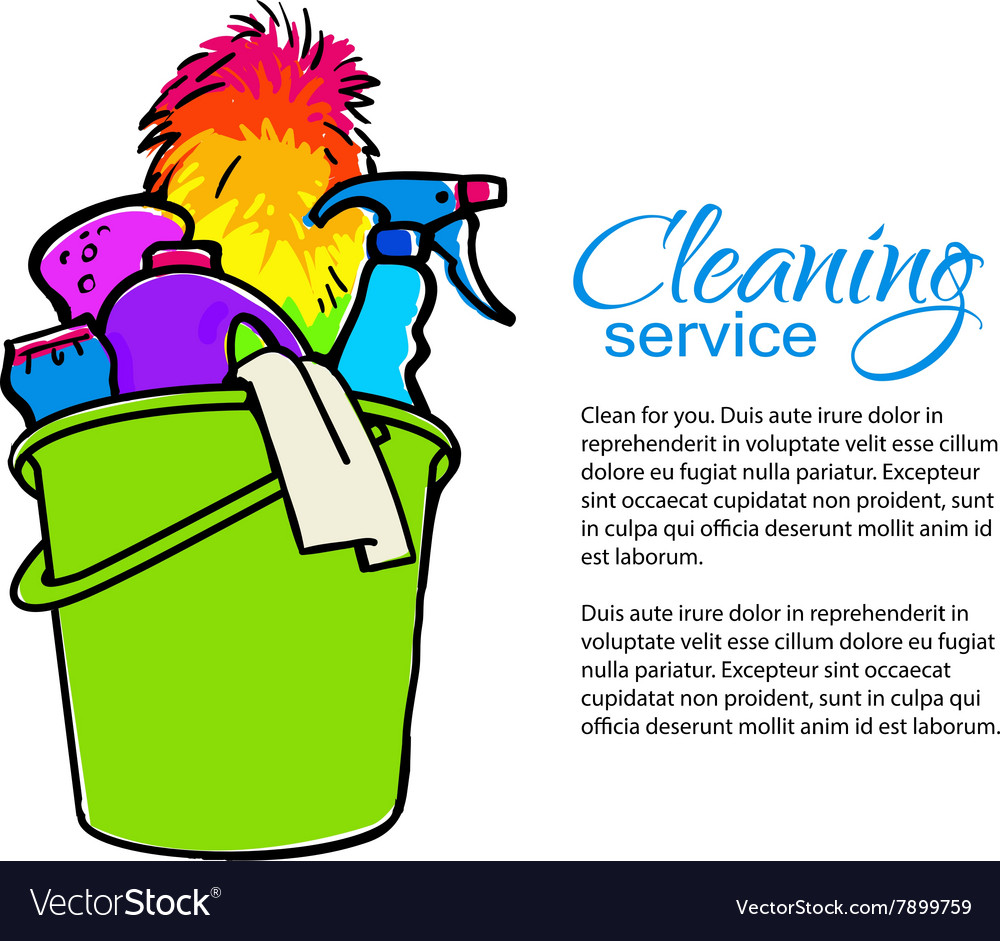Bucket with cleaning cleaners cleaning services vector