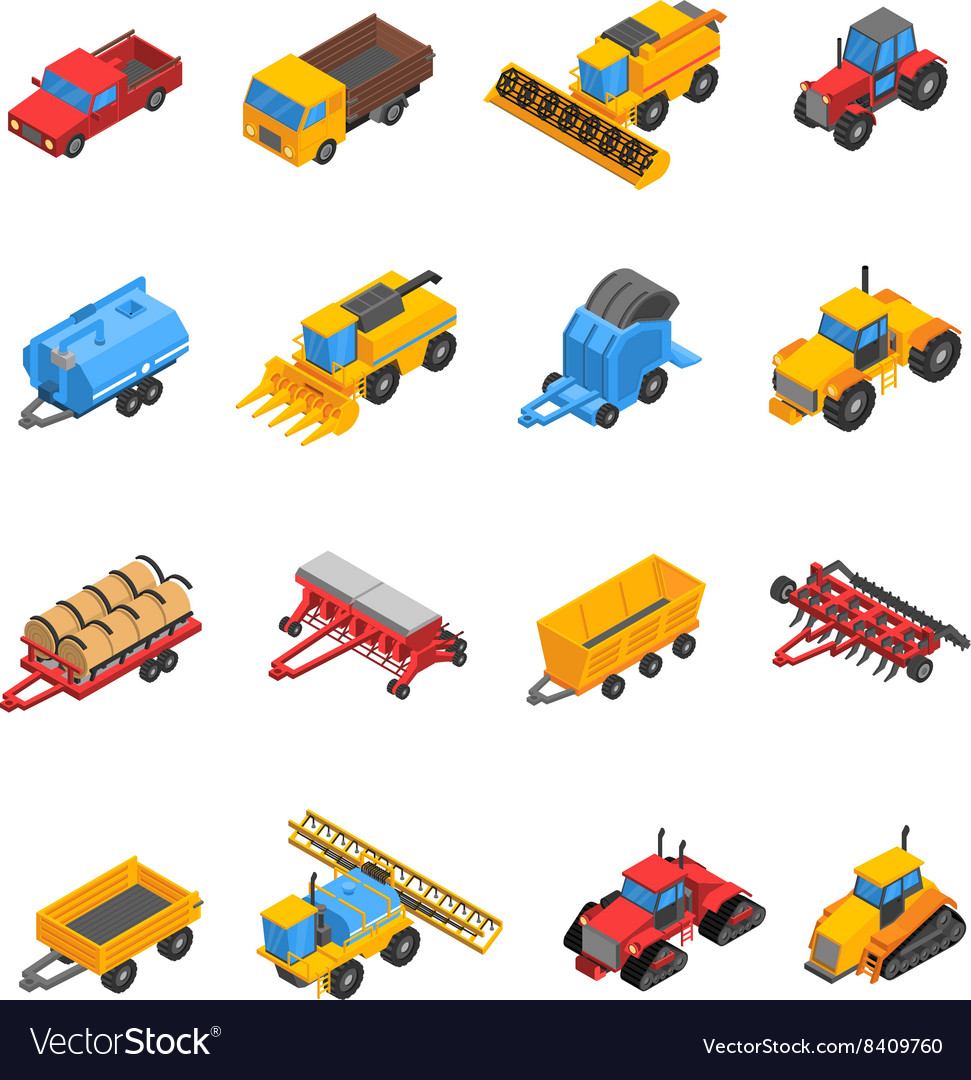 Agricultural machines isometric icon set vector