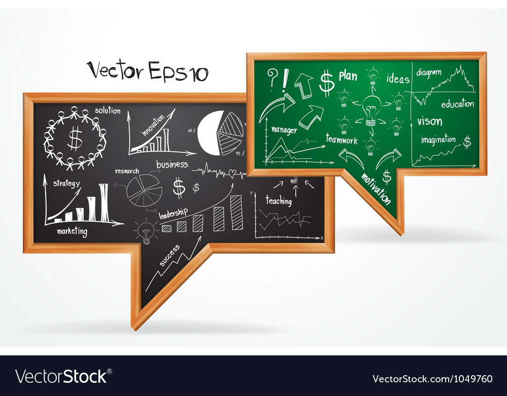 Business plan concept drawing on chalkboard vector