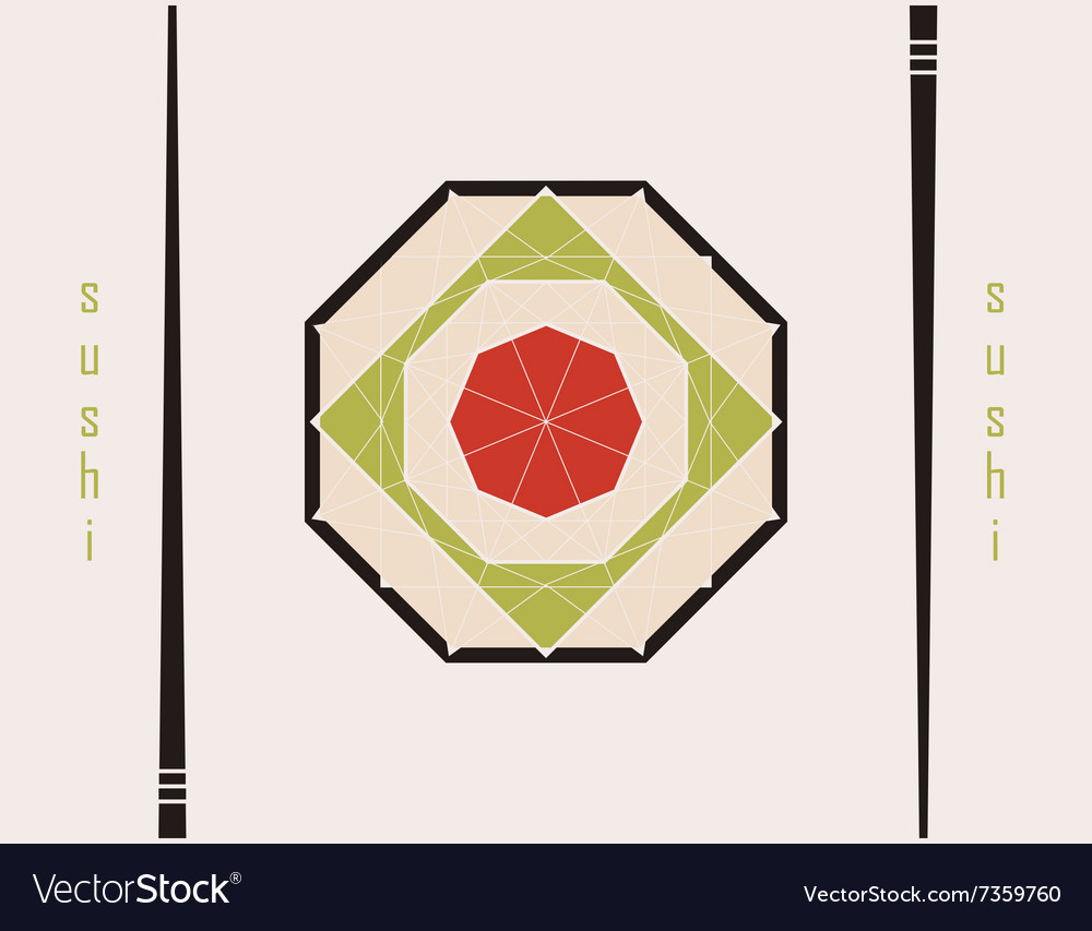 Sushi sign in the form of diamond vector