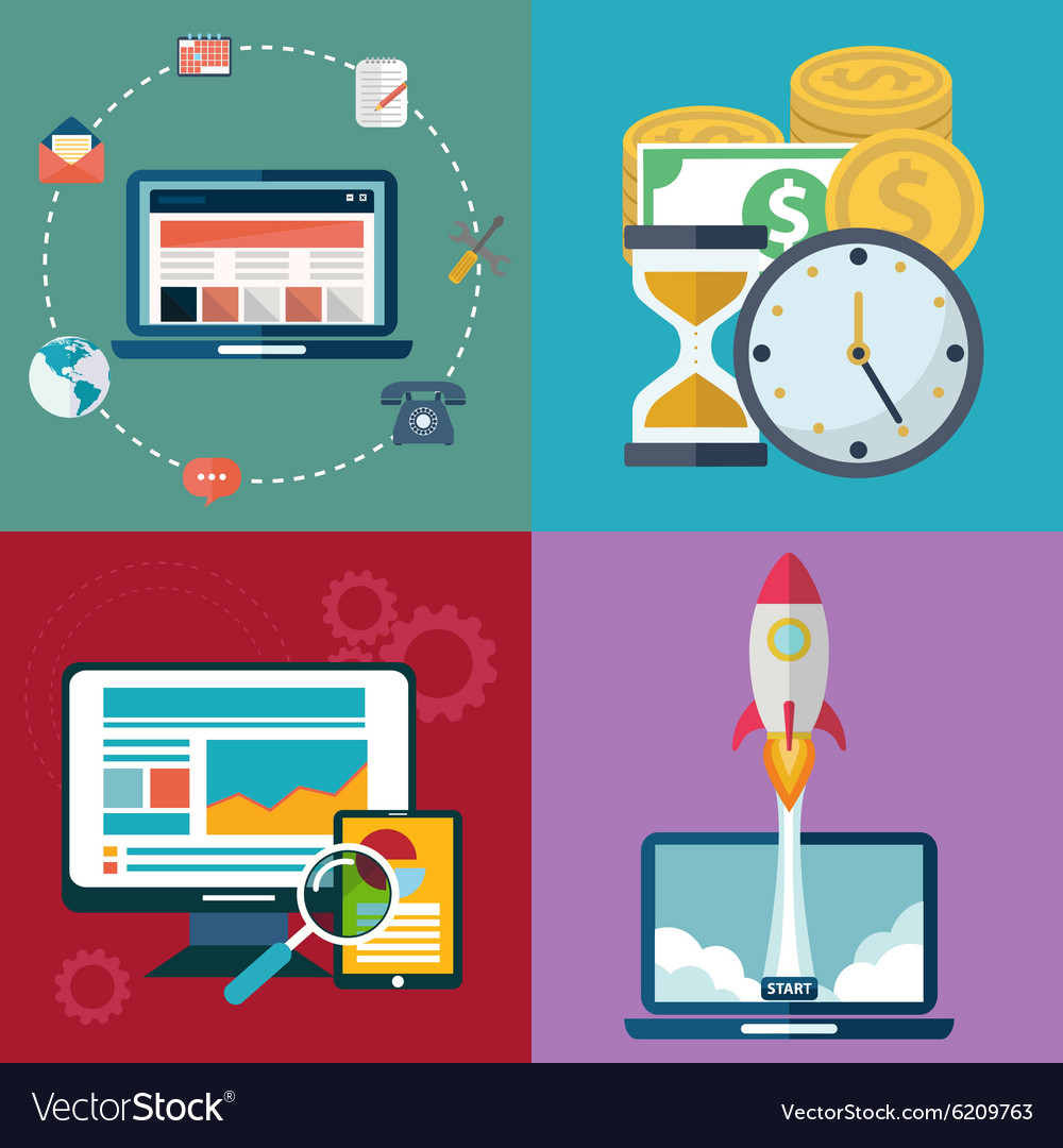 Collection of flat and colorful business analitycs vector