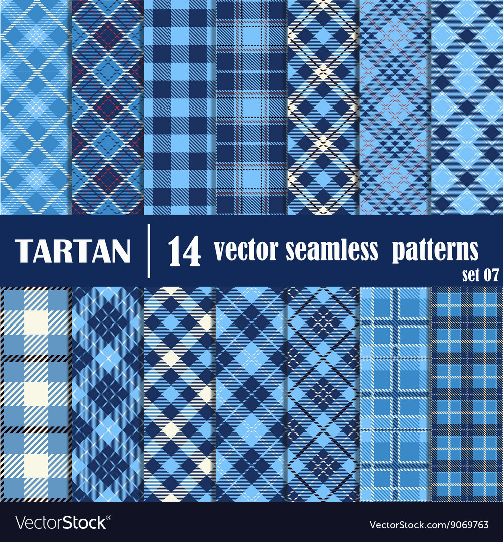 Set tartan seamless pattern in blue tone vector