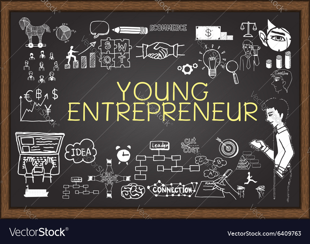 Young entrepreneur on chalkboard vector