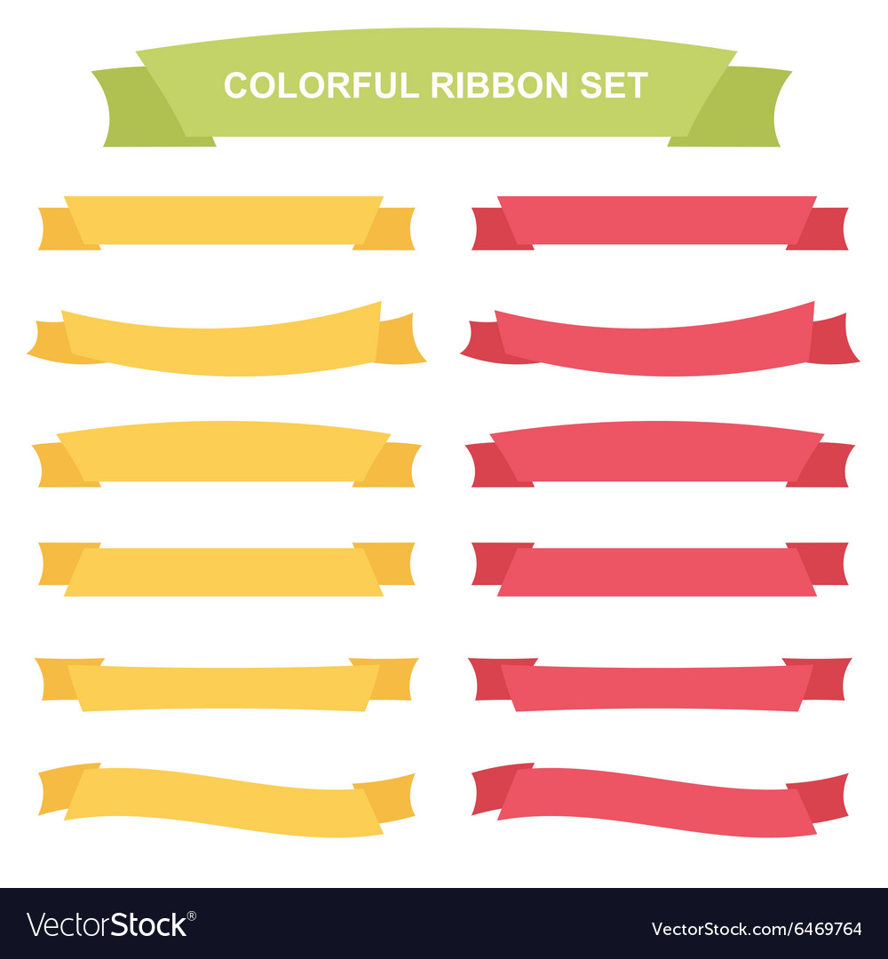 Colorful ribbons and banners set vector