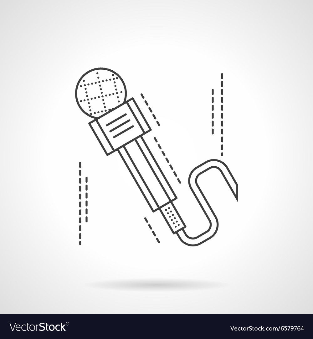 Flat thin line microphone icon vector