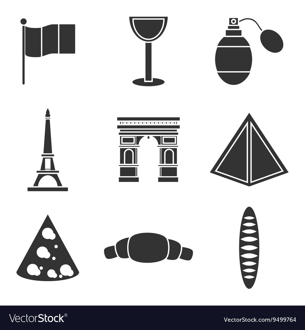 France icons set vector