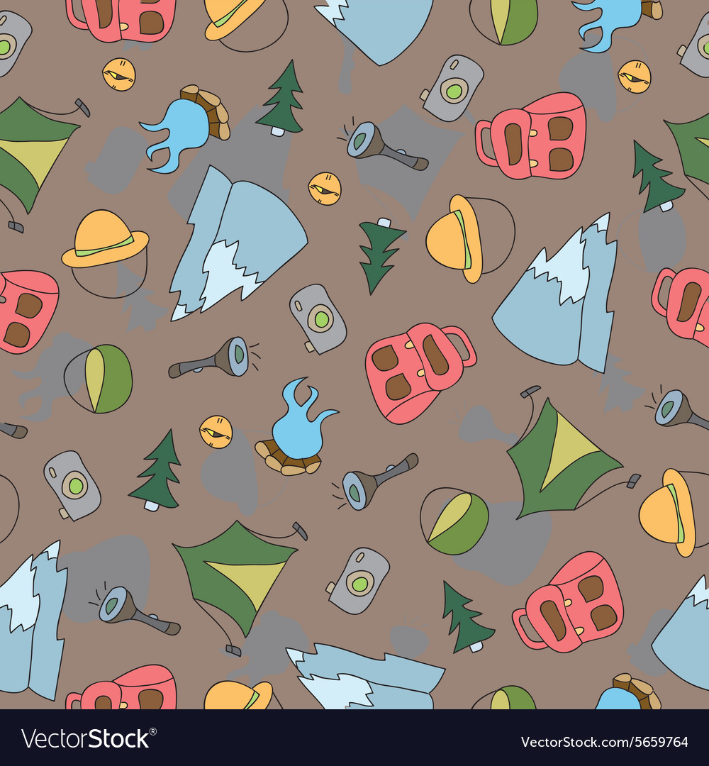 Seamless pattern of camping elements vector