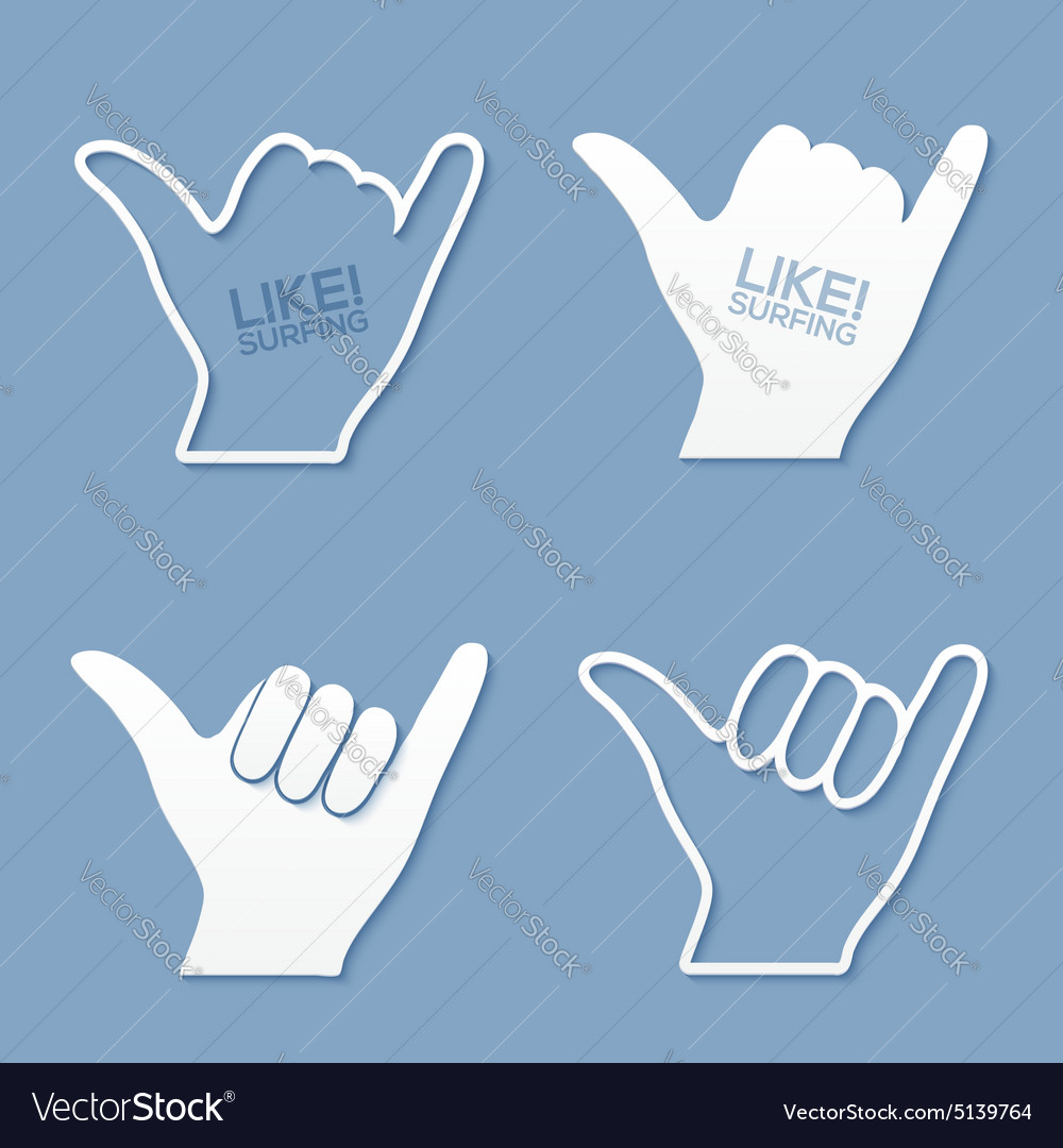 Surfers shaka hand sign in flat paper style vector