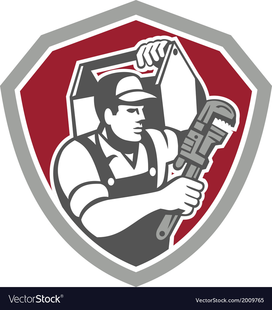 Plumber carry toolbox wrench shield retro vector