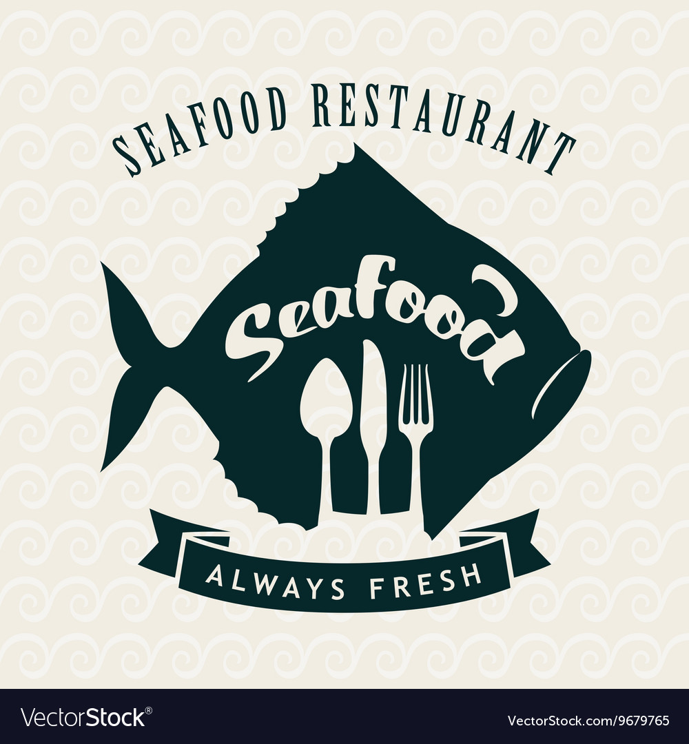 Seafood restaurant with fish vector