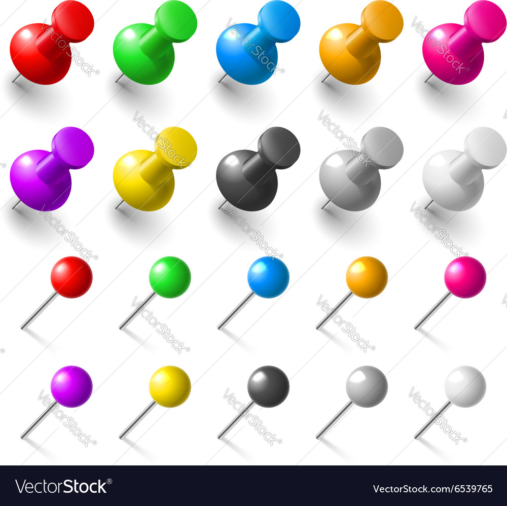 Set of pushpin vector