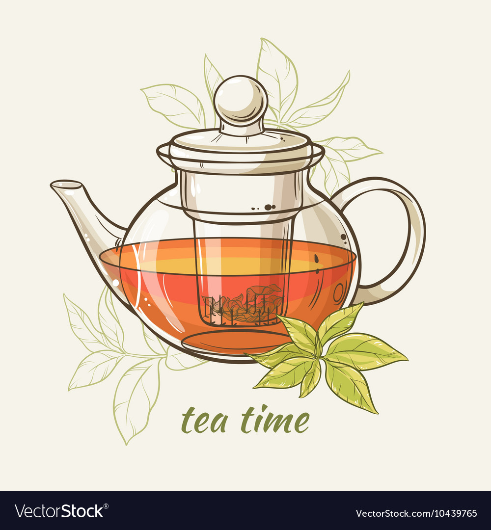 Tepot with green tea leaves vector