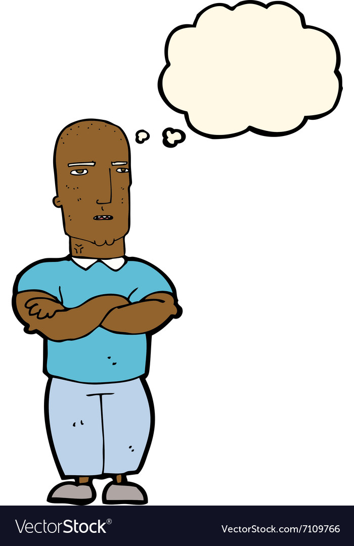 Cartoon annoyed bald man with thought bubble vector