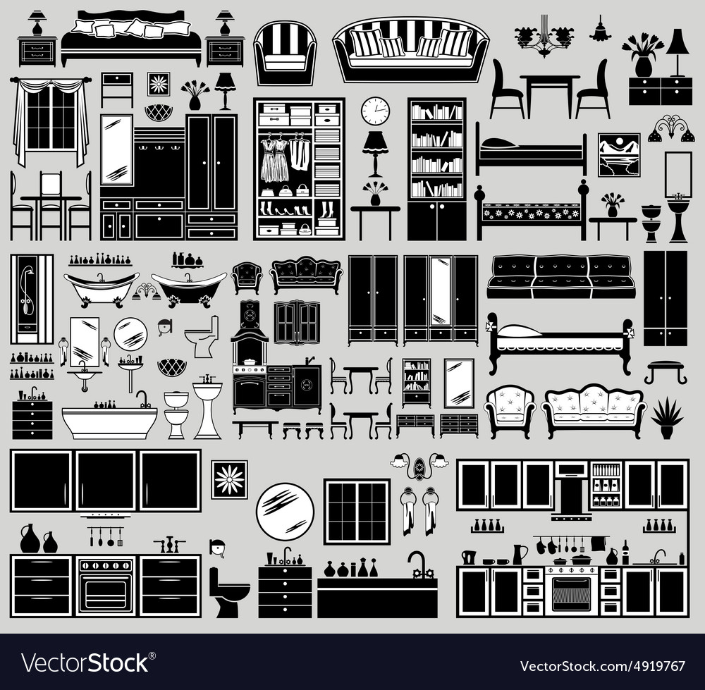 Set of the furniture icons vector