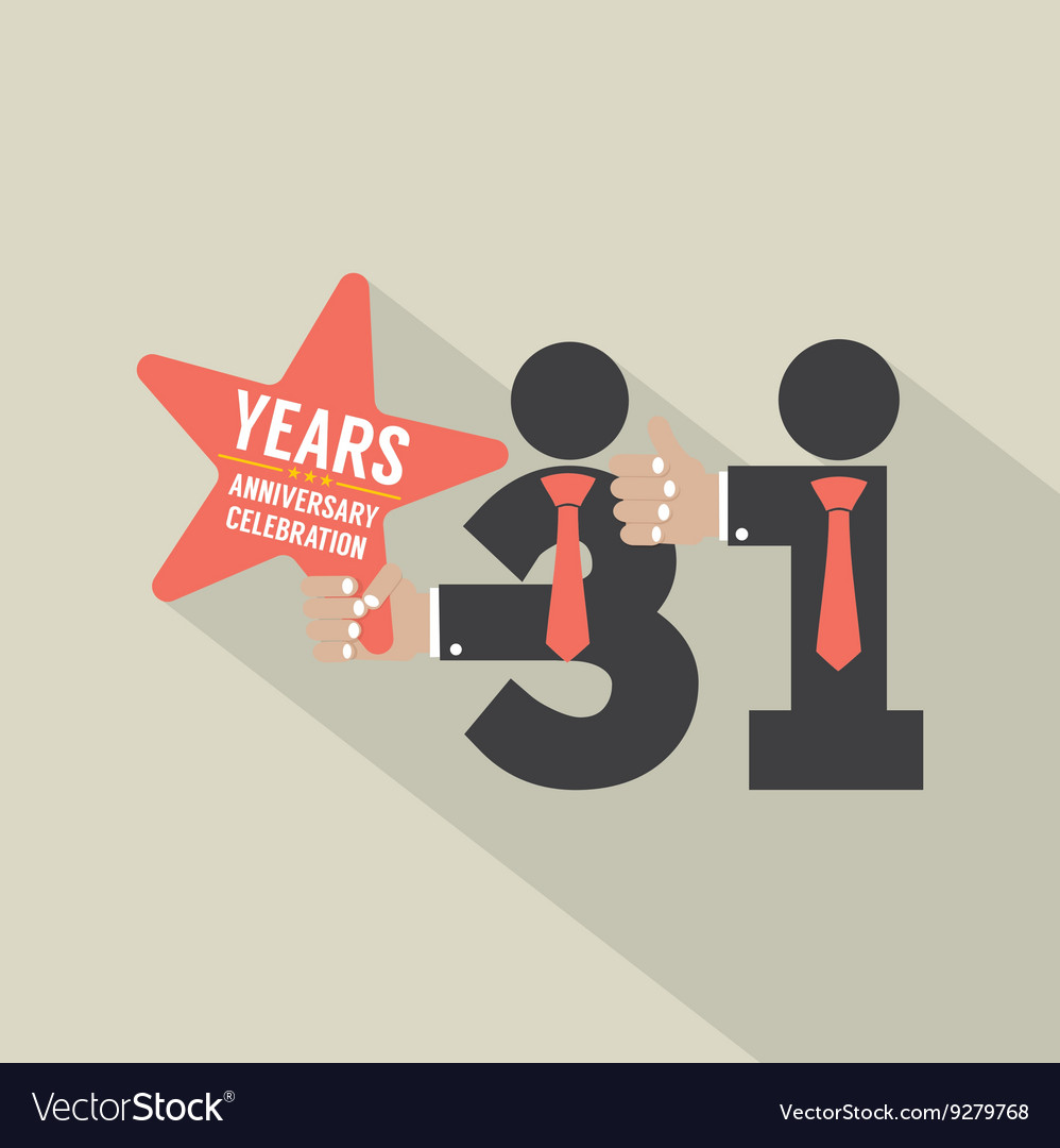 31st years anniversary typography design vector