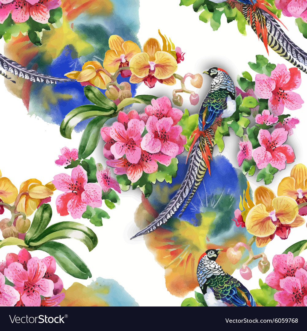 Wild pheasant animals birds in watercolor floral vector