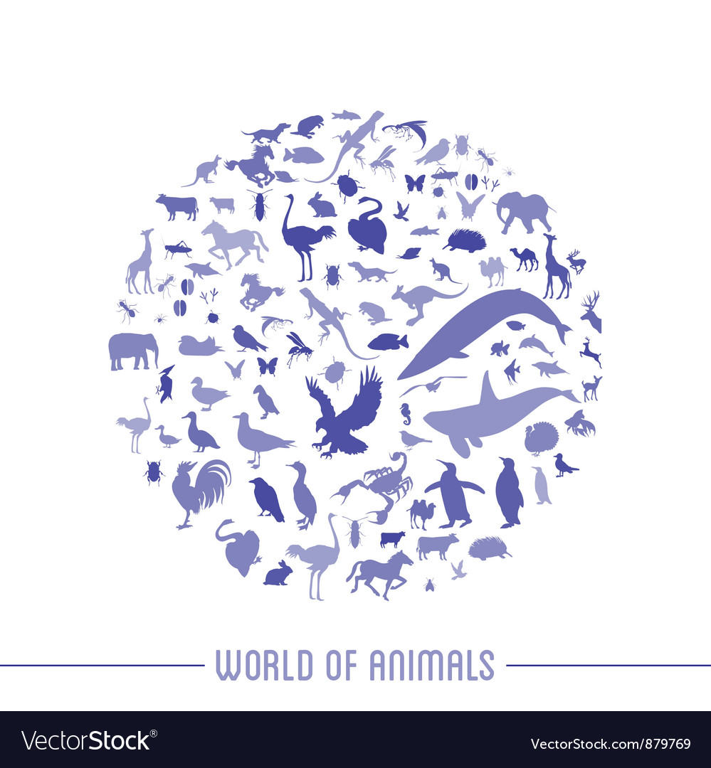 Blue globe outline made from animals icons vector