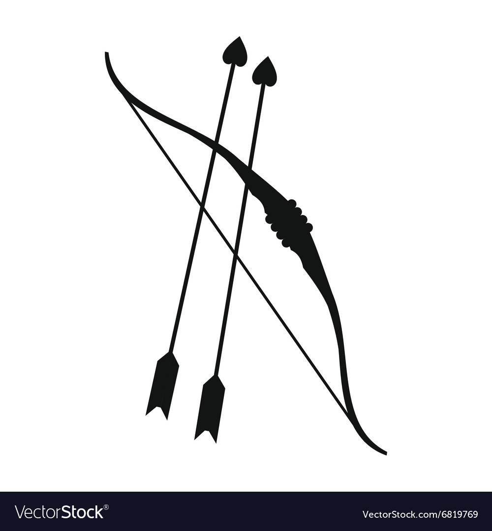 Cupid bow and arrows simple icon vector