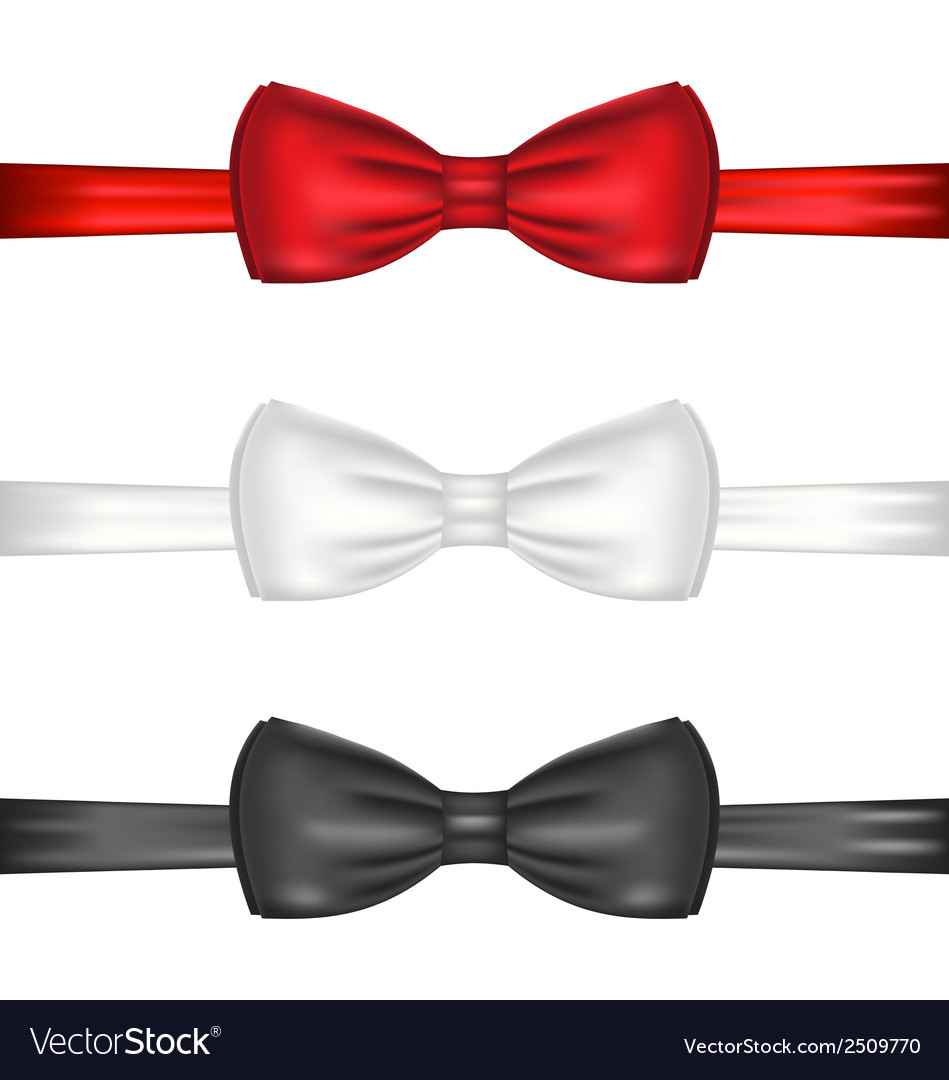 Set realistic red white and black bow ties vector