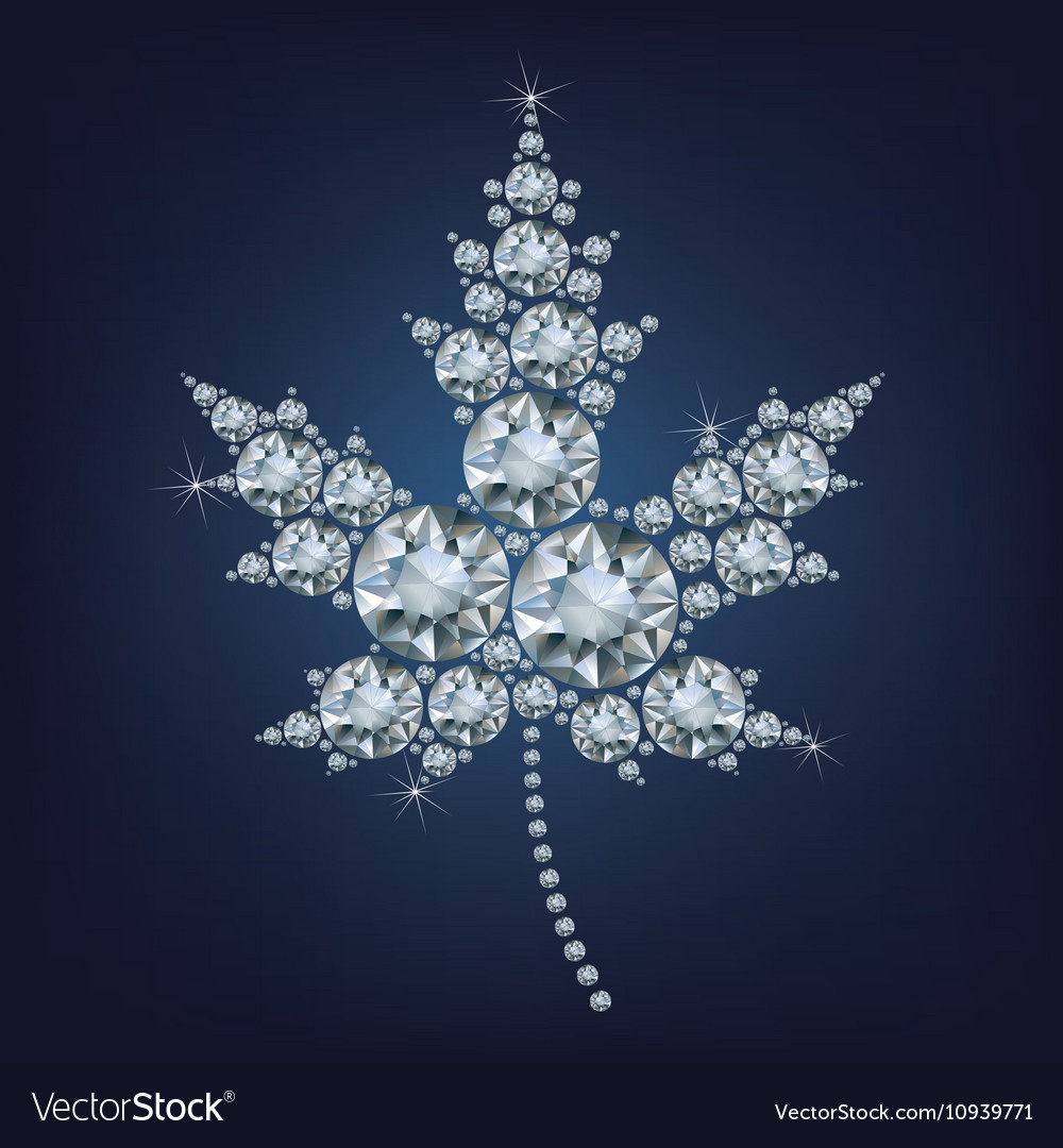 Canadian maple leaf icon made a lot of diamonds vector