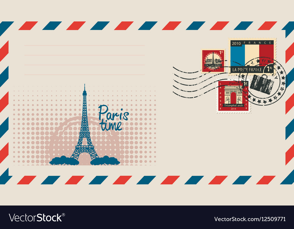 Envelope with with eiffel tower vector