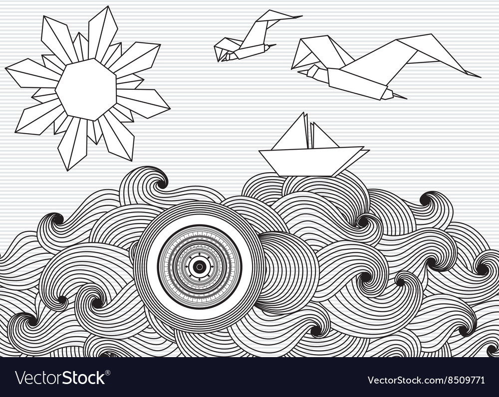 Paper ship and sun and birds origami vector