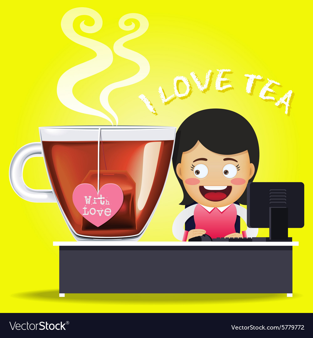 Woman working on computer and big tea cup vector