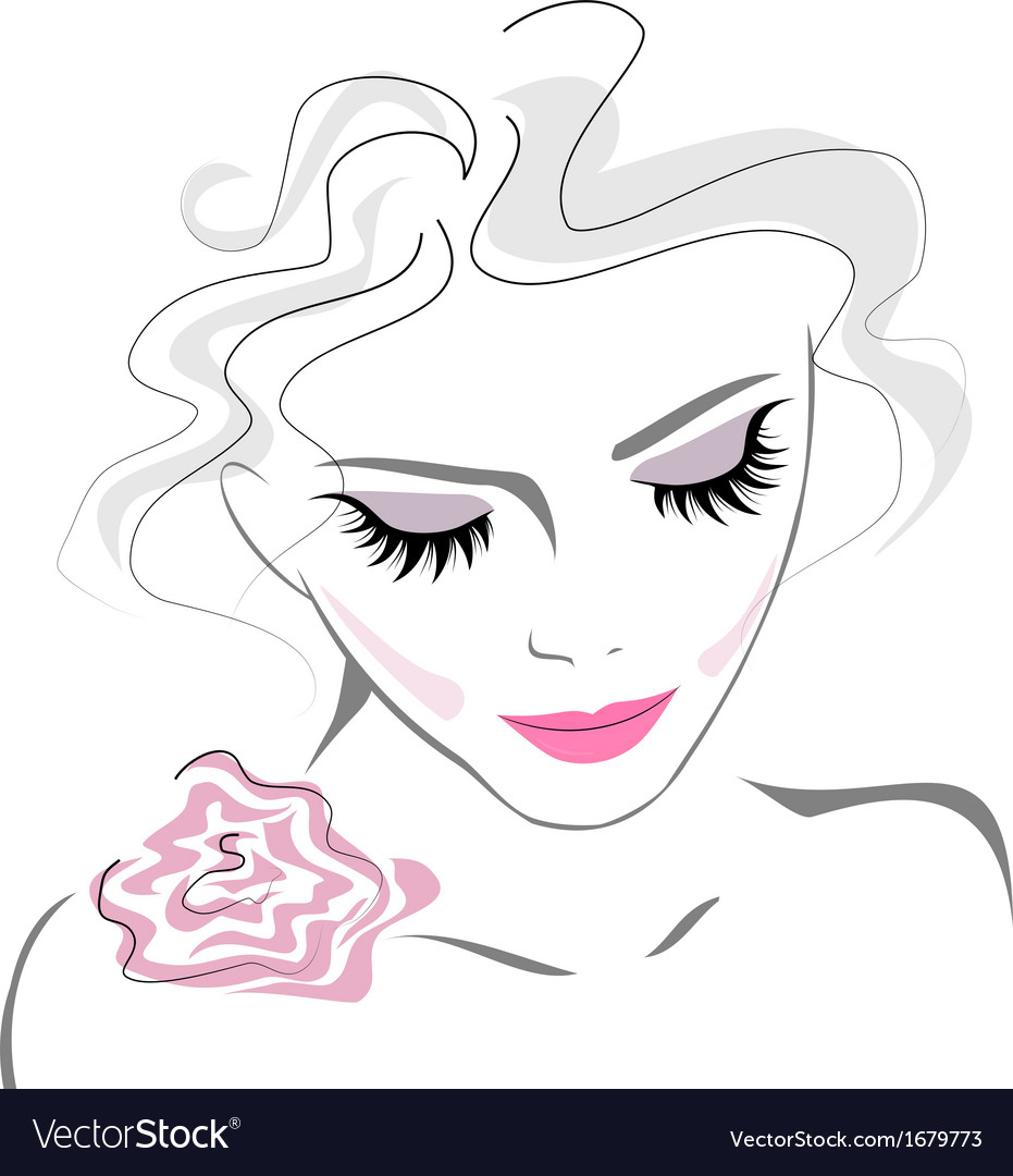 Beauty makeup icon with rose flower vector