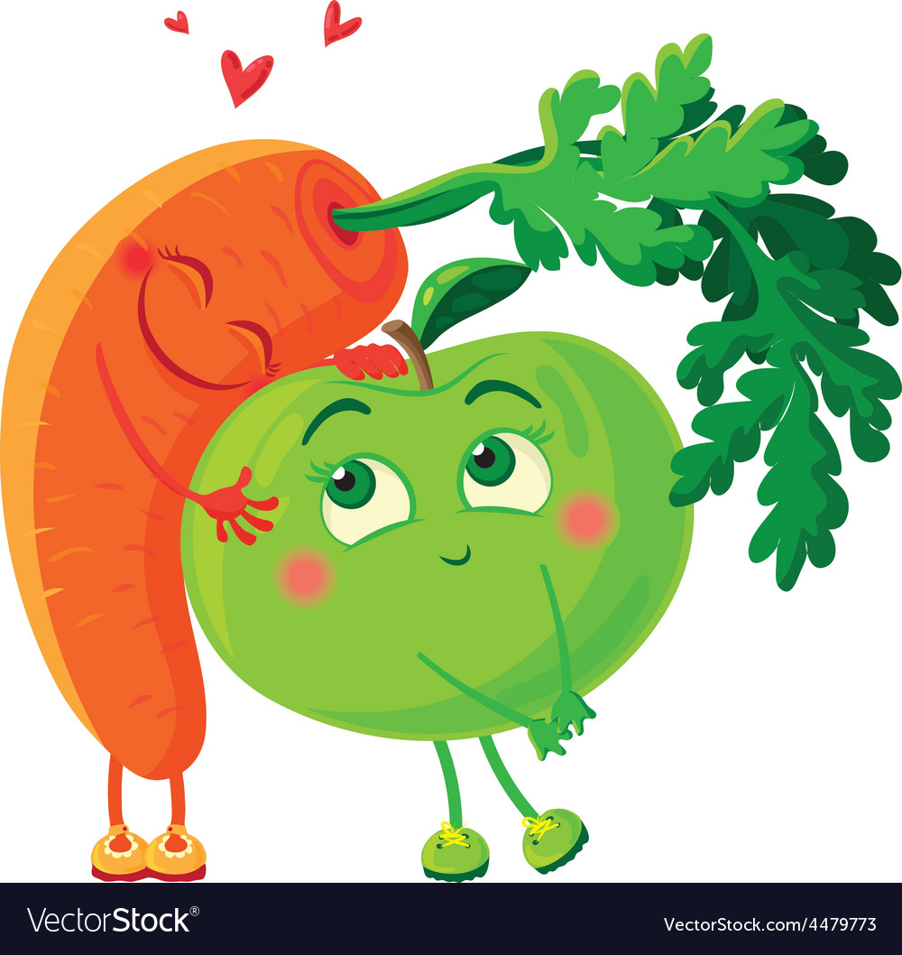 Carrots in love with the apple vegetables hug vector