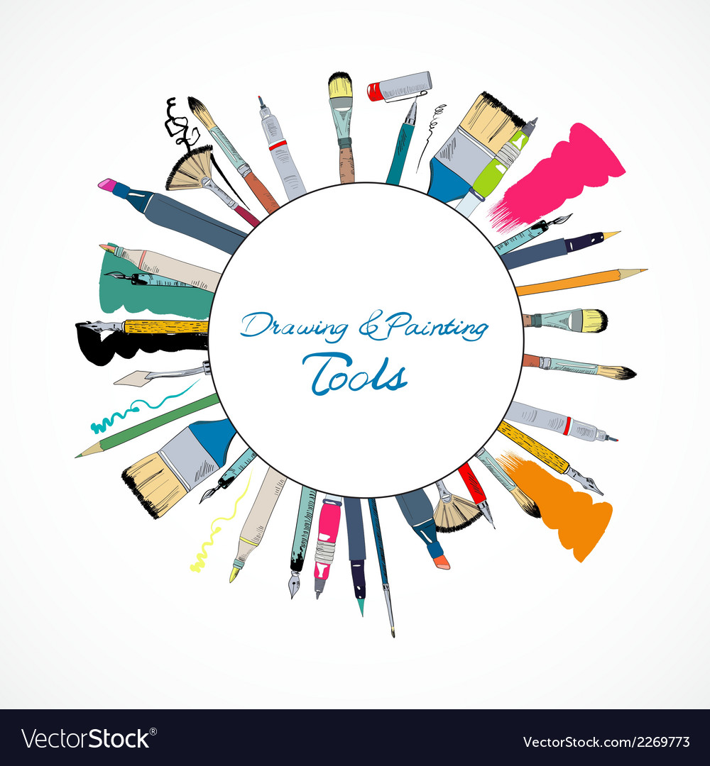 Drawing tools emblem poster vector