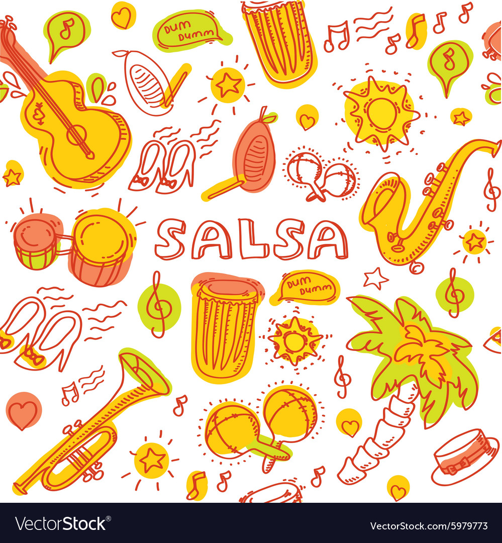 Salsa cuban music and dance with vector