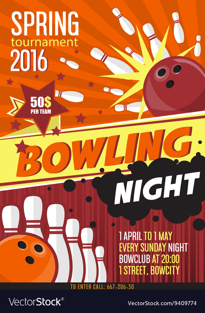 Bowling tournament poster template design with vector