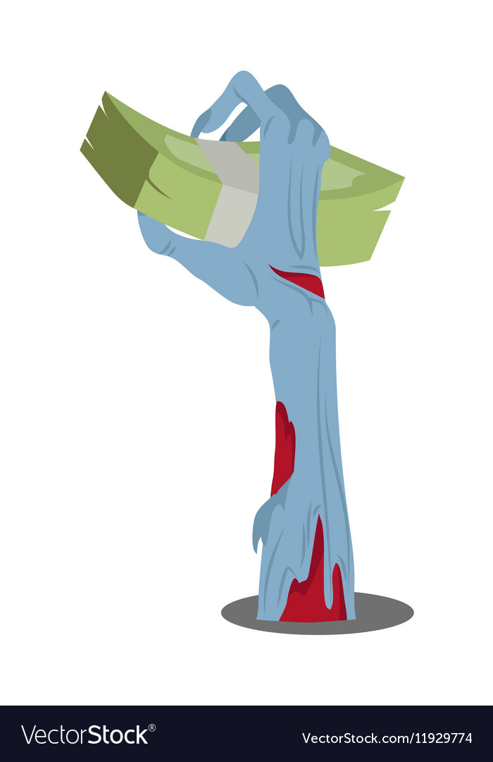 Zombie hand appears with bundle of money isolated vector