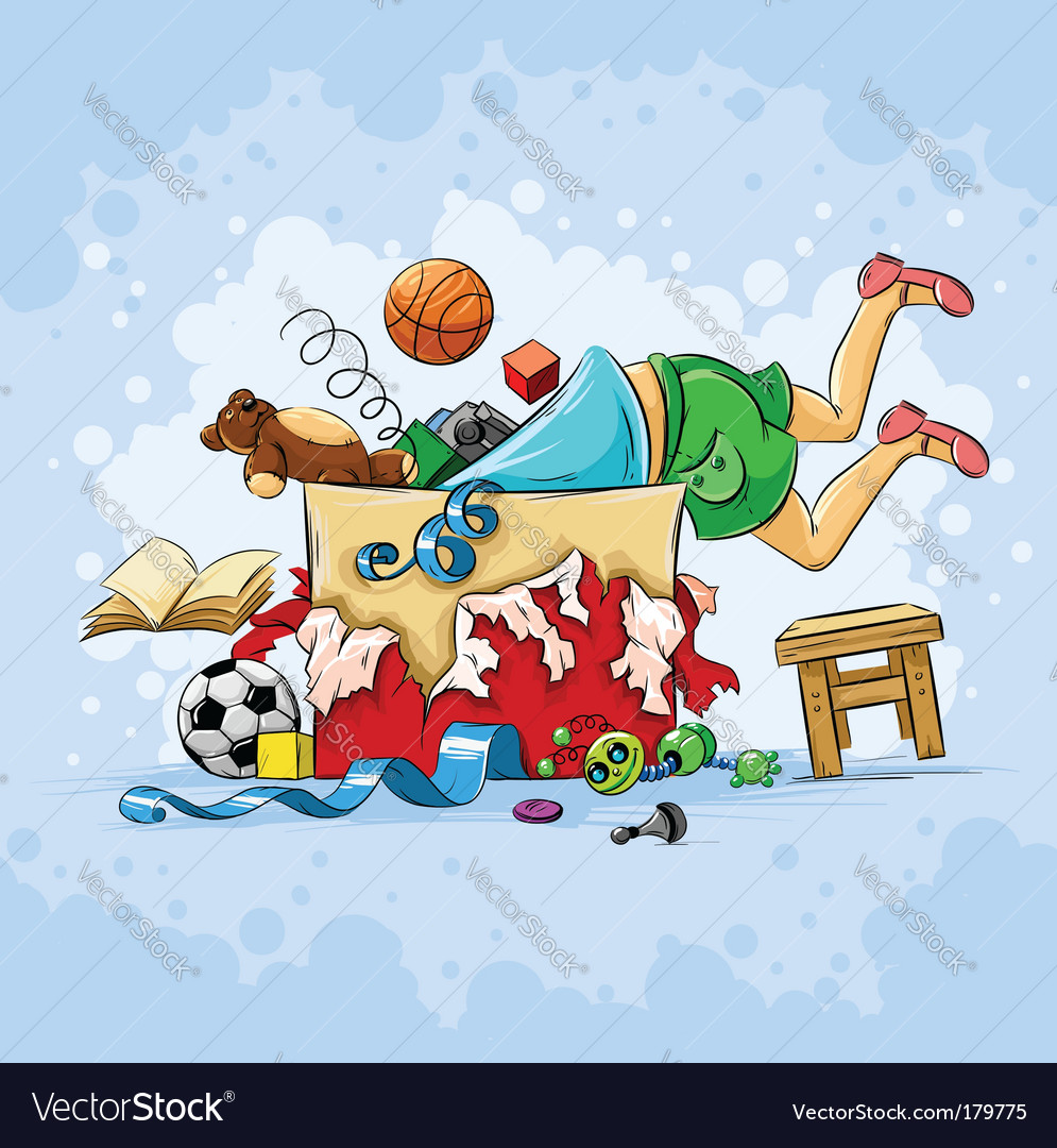 Child and toys vector