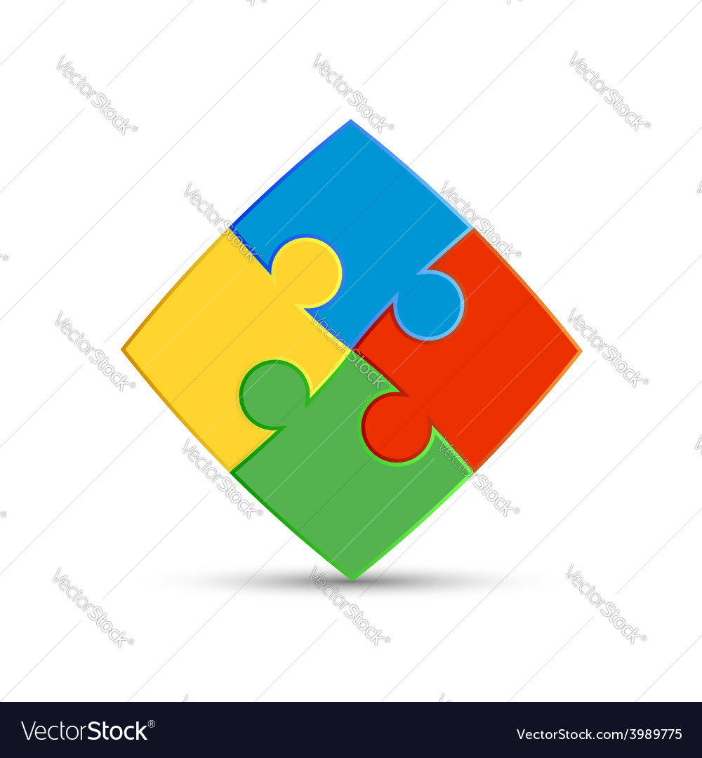 Four pieces of the puzzle are interconnected vector
